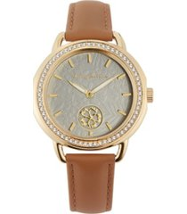 tommy bahama women's spinning flower crystal brown leather strap watch, 34mm