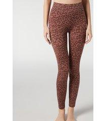 calzedonia animal print active leggings woman brown size l