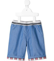 familiar contrast-panel shorts - blue