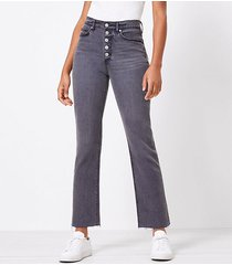 loft curvy button front fresh cut high rise straight crop jeans in washed black wash