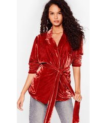 womens smoothing on belted velvet blazer - rust