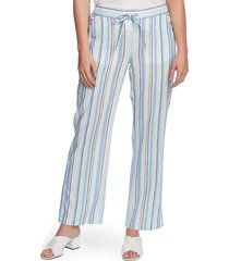 women's vince camuto wistful stripe linen & cotton blend drawstring pants, size xx-small - blue