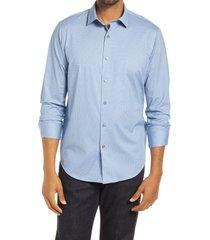 men's bugatchi ooohcotton tech geo print button-up shirt, size xxx-large - blue