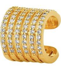 brinco piercing largo 6 faixas cravejadas banhado a ouro 18k
