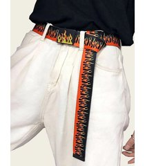 flame pattern canvas casual buckle belt