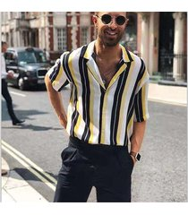 camisa de manga corta ajustada con botones de manga corta para-amarillo