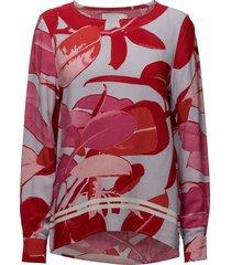 moss crepe blouse w. branch print & blus långärmad röd coster copenhagen