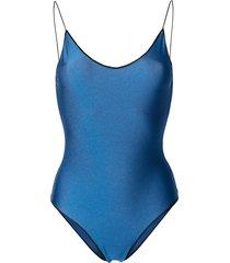 oséree lace insert swimsuit - blue