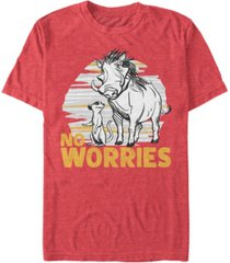 disney men's the lion king live action timon pumbaa no worries short sleeve t-shirt