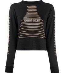 maisie wilen graphic-print slim-fit sweatshirt - black
