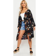 plus oriental kimono met sluiting taille, zwart