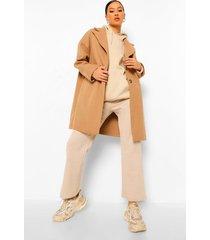 getailleerde nepwollen jas, camel