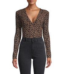 leopard-print stretch bodysuit