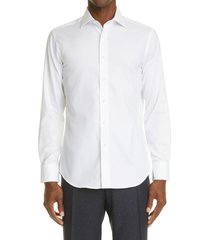 canali men's impeccabile regular fit non-iron solid dress shirt, size 18.5 in white at nordstrom