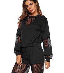 black mesh hollow diseño trajes de dos piezas con cintura con cordón