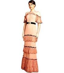 vestido longo izadora lima brand com renda e cinto preto em veludo feminino