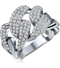 anello di lusso delle donne anello pieno di zirconio platino