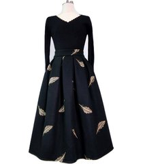 black winter wool a line pleated skirt high waist midi skirt with wing patterns