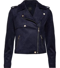 ax woman jacket leren jack leren jas blauw armani exchange