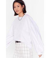 womens see you balloon sleeve oversized sweatshirt - white