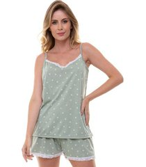 pijama short doll alcinha corações com renda feminino luna cuore