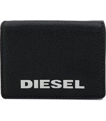 diesel trifold logo wallet - black