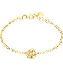 bracciale in ottone dorato con elemento circolare cristalli e smalto verde per donna