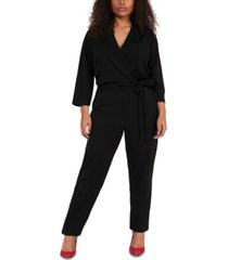 black tape plus size floral-print wrap jumpsuit