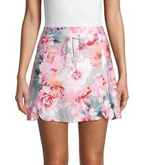 floral-print drawstring skirt