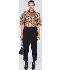 blouse van organza met luipaardprint