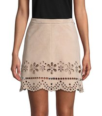 laser-cut suede mini skirt