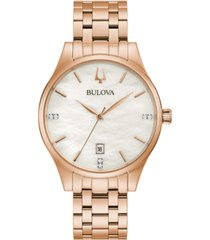 bulova women's classic diamond-accent rose gold-tone stainless steel bracelet watch 36mm