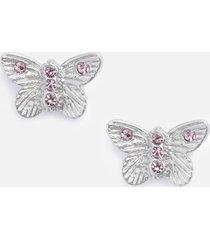 olivia burton women's bejewelled 3d butterfly stud earrings - silver & pink crystal