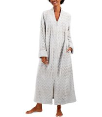 charter club long chevron zip front robe, created for macy's
