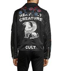graphic moto jacket