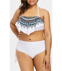 plus size totem print tassel bikini set