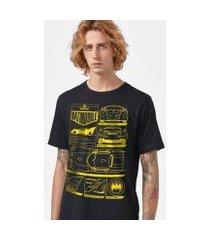camiseta batman batmóvel blueprint masculina
