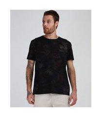 camiseta masculina folhagens manga curta gola careca preta