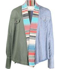 greg lauren colour-block draped jacket - blue