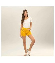 lez a lez - shorts hot pant califórnia broche amarelo caramelo