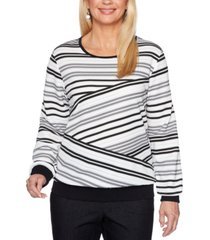 alfred dunner petite biased striped knit well red top