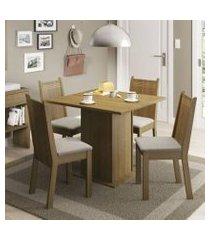 conjunto sala de jantar kate madesa tampo de madeira com 4 cadeiras rustic/pérola rustic