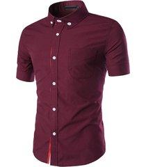 uomo camicia in estate casua da affari camicia a cinghia con maniche corte patchwork