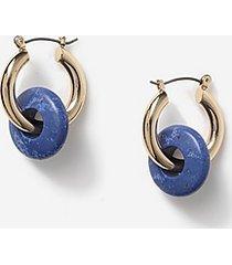 *blue bead hoop earrings - blue