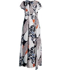 asha print wrap dress