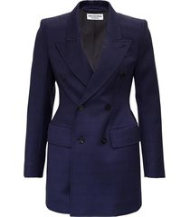 double-breasted check wool blazer