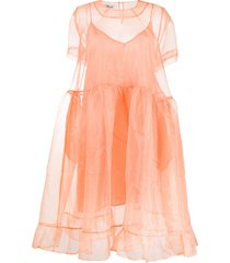 baum und pferdgarten sheer organza babydoll dress - orange