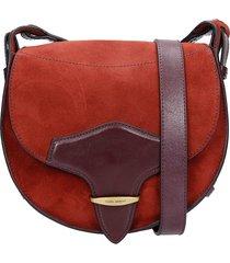 isabel marant botsy shoulder bag in bordeaux suede