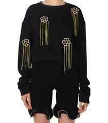 women's area floral crystal fringe french terry sweatshirt