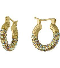 15mm all over crystal click top hoop earrings in gold over or silver plated